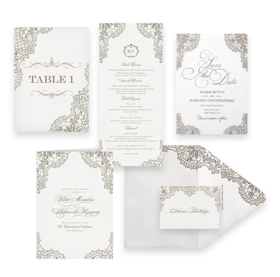 Classic lace save the dates, menus, programs and wedding accessories