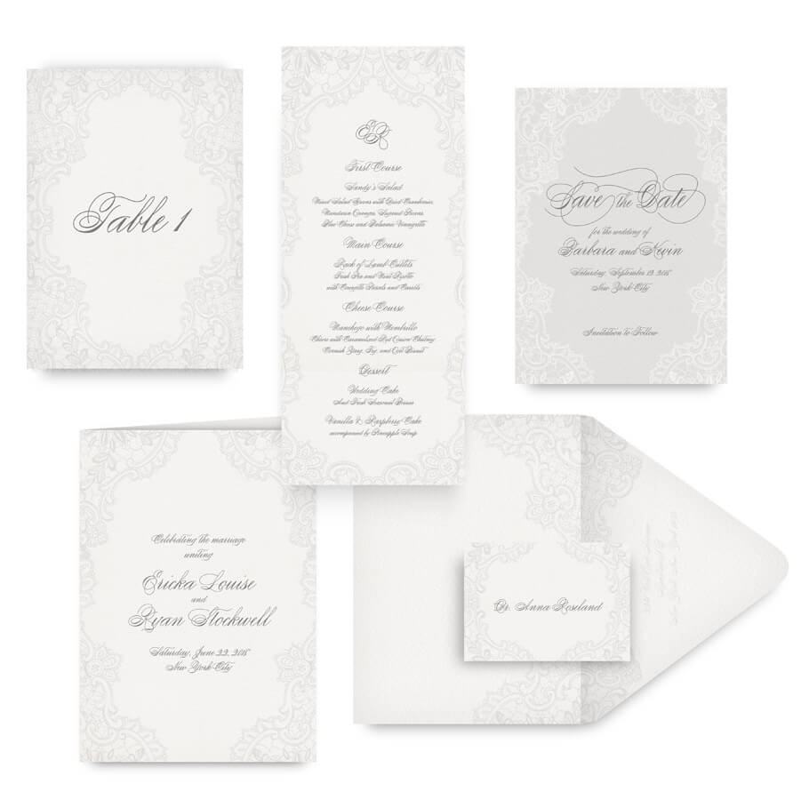Romantic lace save the dates, menus, programs and wedding accessories