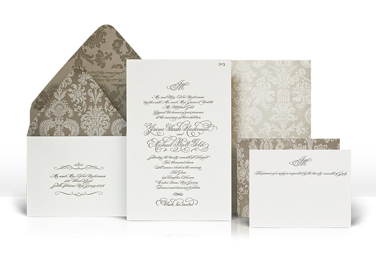 Classic damask and calligraphy wedding invitation