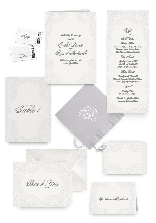 Romantic lace wedding menus, programs and accessories