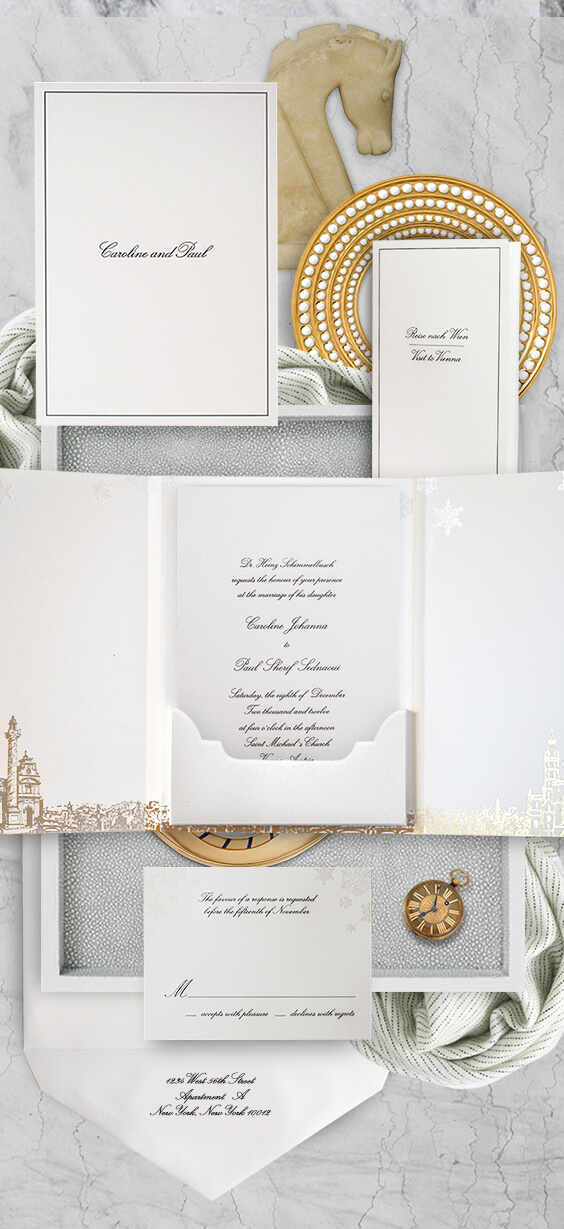 Formal wedding invitation with the skyline of Vienna