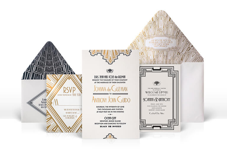 Art Deco gold and black wedding invitations