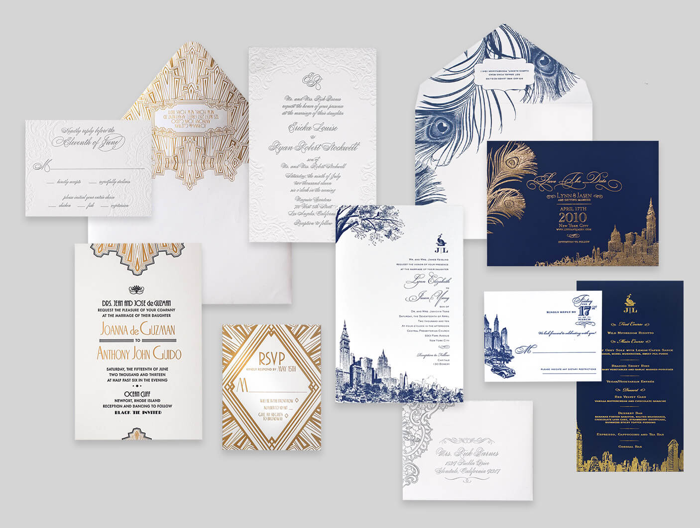 Art deco and New York City inspired invitations
