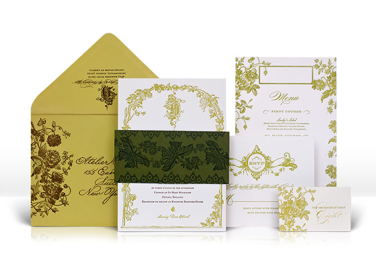 English garden wedding invitation with trellis and flowers