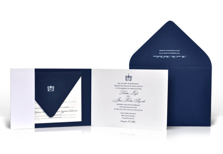 Classic navy and white wedding invitation