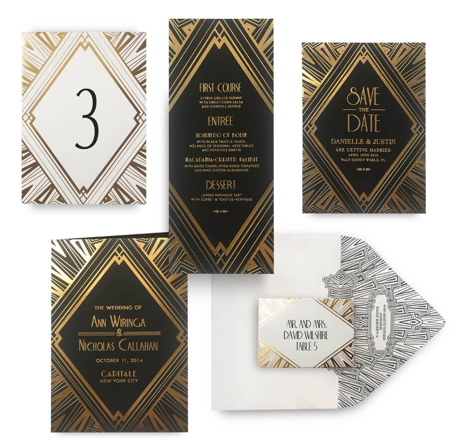 Art Deco gold save the date, menu, program and wedding accessories