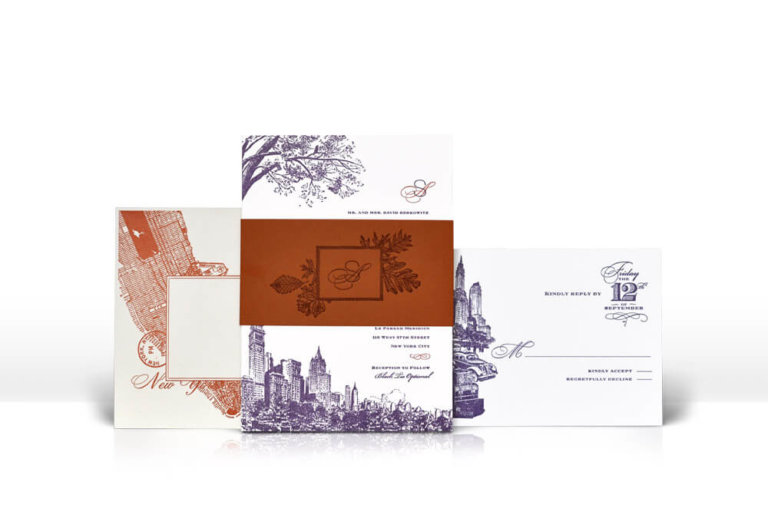Autumn in New York City wedding invitation
