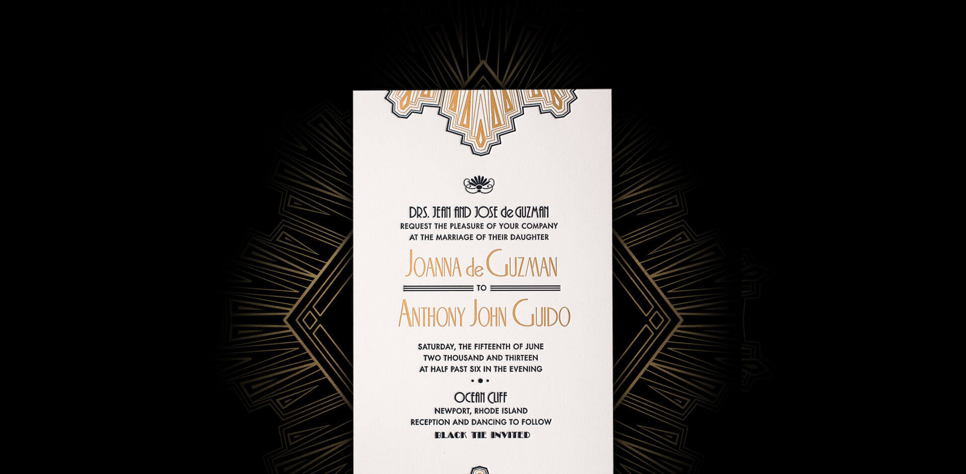 Art Deco gold and black wedding invitation card