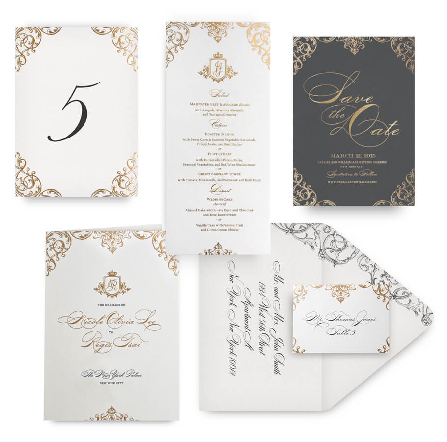 Ornate gold save the date, menu, program and wedding accessories