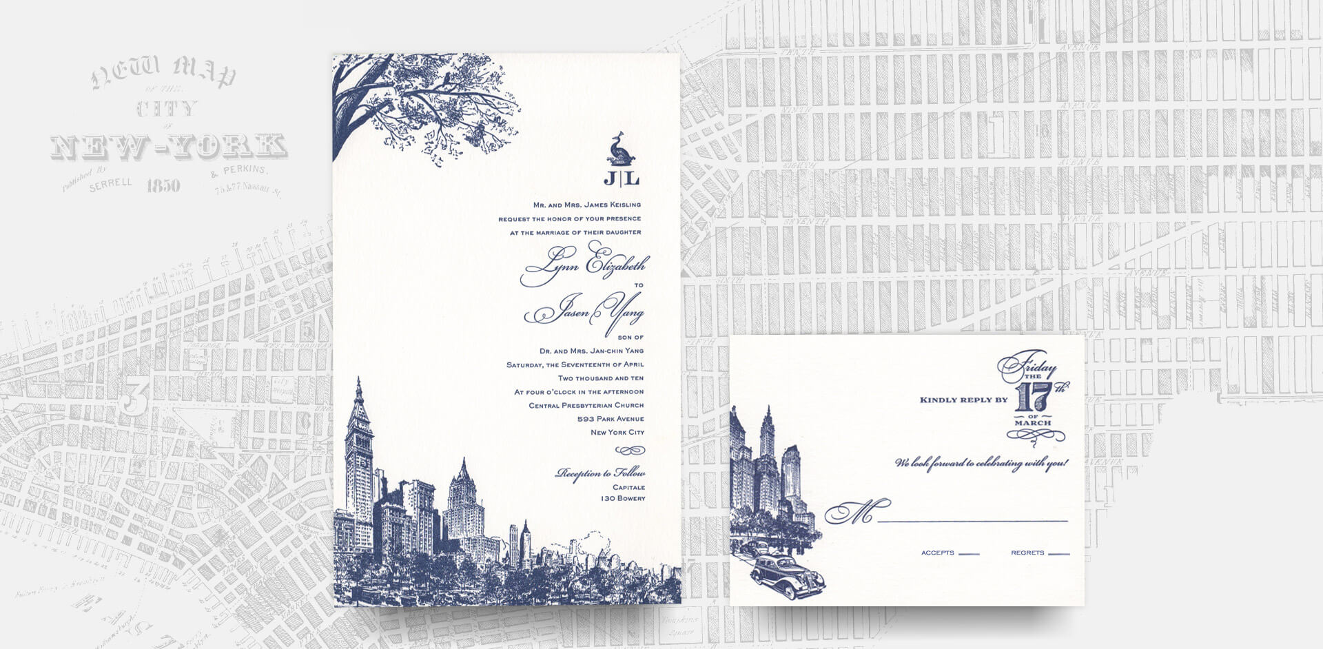 New York City invitation suite with grid of Manhattan background