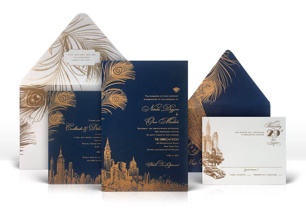 Navy and gold New York City skyline wedding invitation