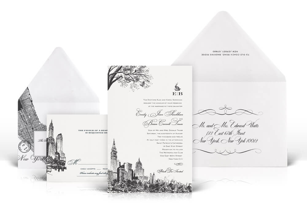 Charcoal New York City skyline wedding invitation