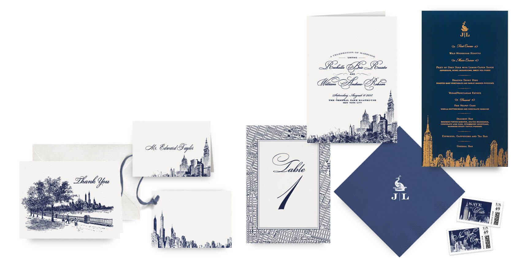 New York City menus, programs and wedding accessories