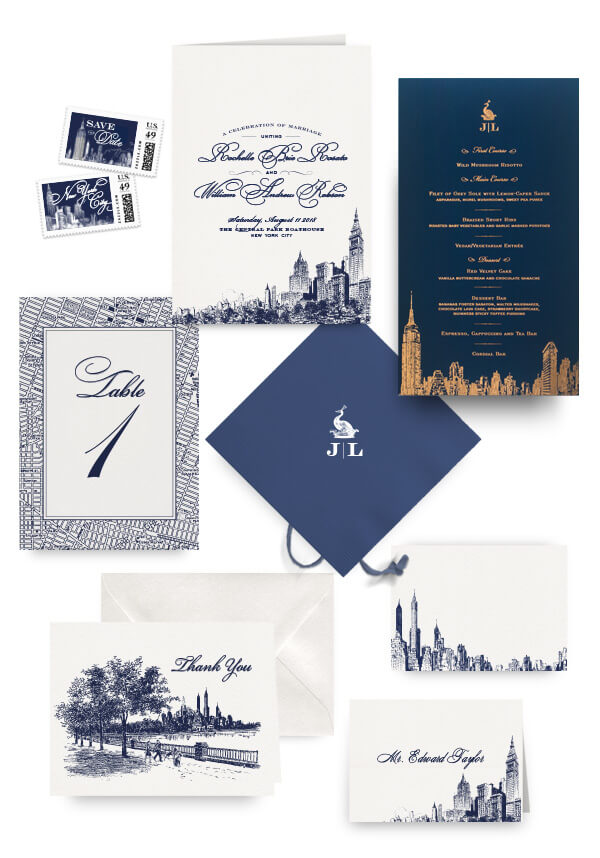 New York City napkins, table cards, escort and place cards