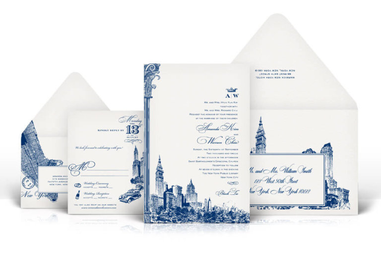 New York Public Library letterpress wedding invitation