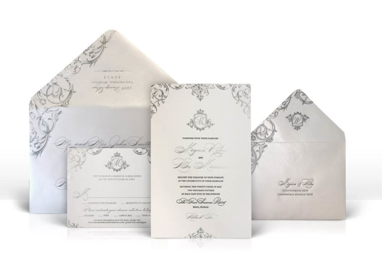 Opulent silver and grey wedding invitations