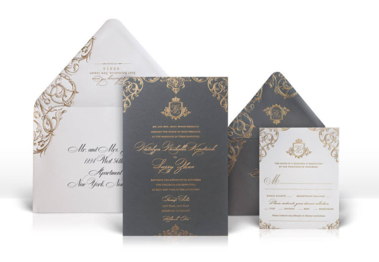 Silver and grey opulent wedding invitations