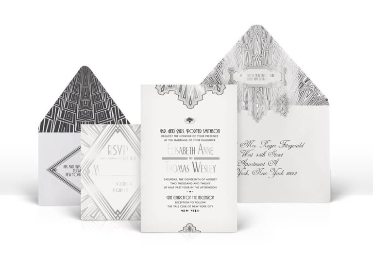 Great Gatsby silver Art Deco wedding invitation