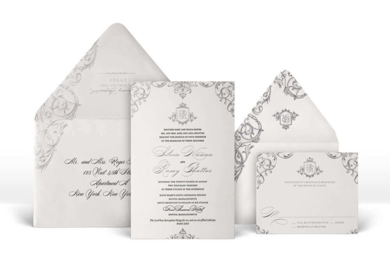Ornate palace inspired silver wedding invitation