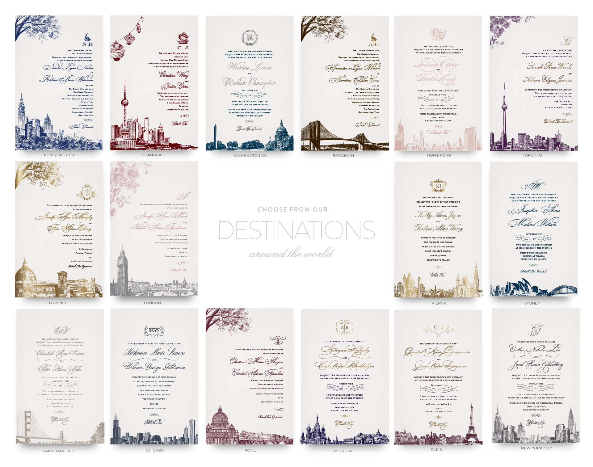 International city skyline inspired wedding invitations
