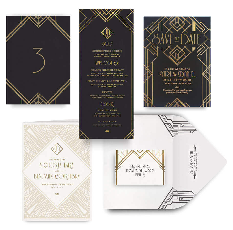 Great Gatsby save the date, menu, program and wedding accessories