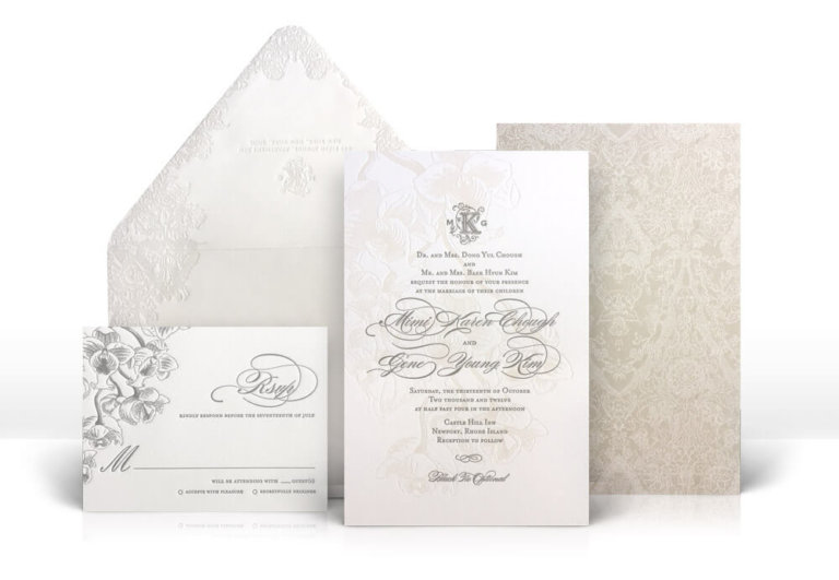 Letterpress floral and lace wedding invitation
