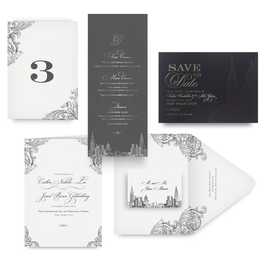 New York save the date, menu, program and wedding accessories
