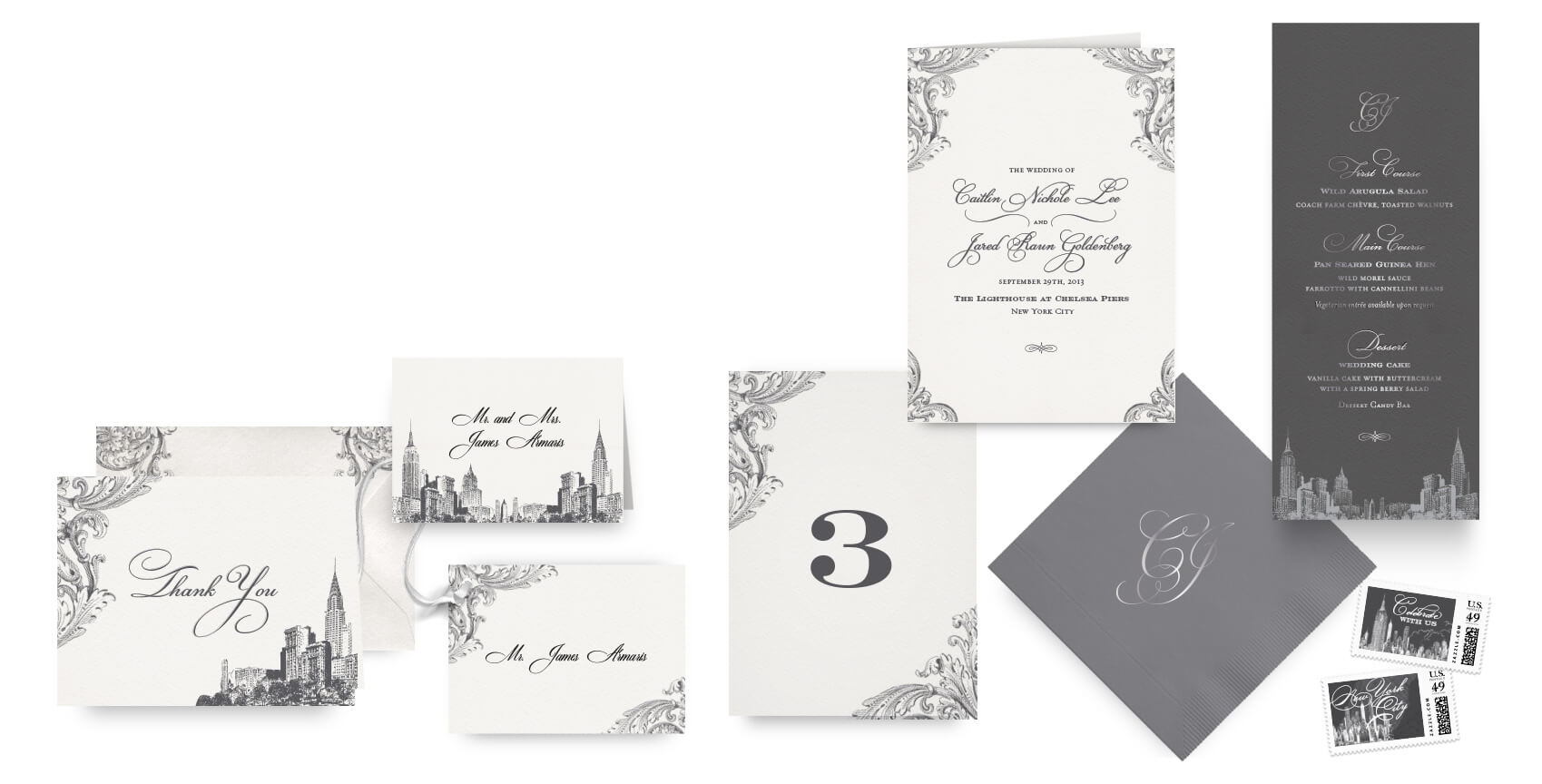 New York menus, programs and wedding accessories