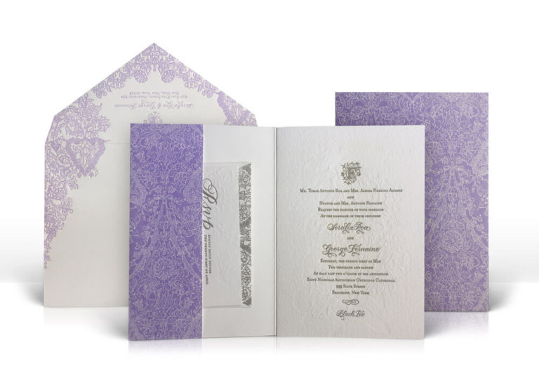 Purple lace folder wedding invitation