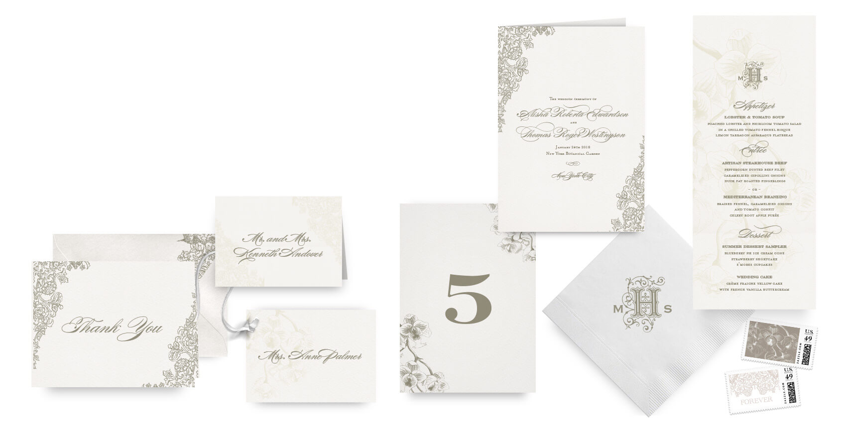 Romantic floral menus, programs and wedding accessories
