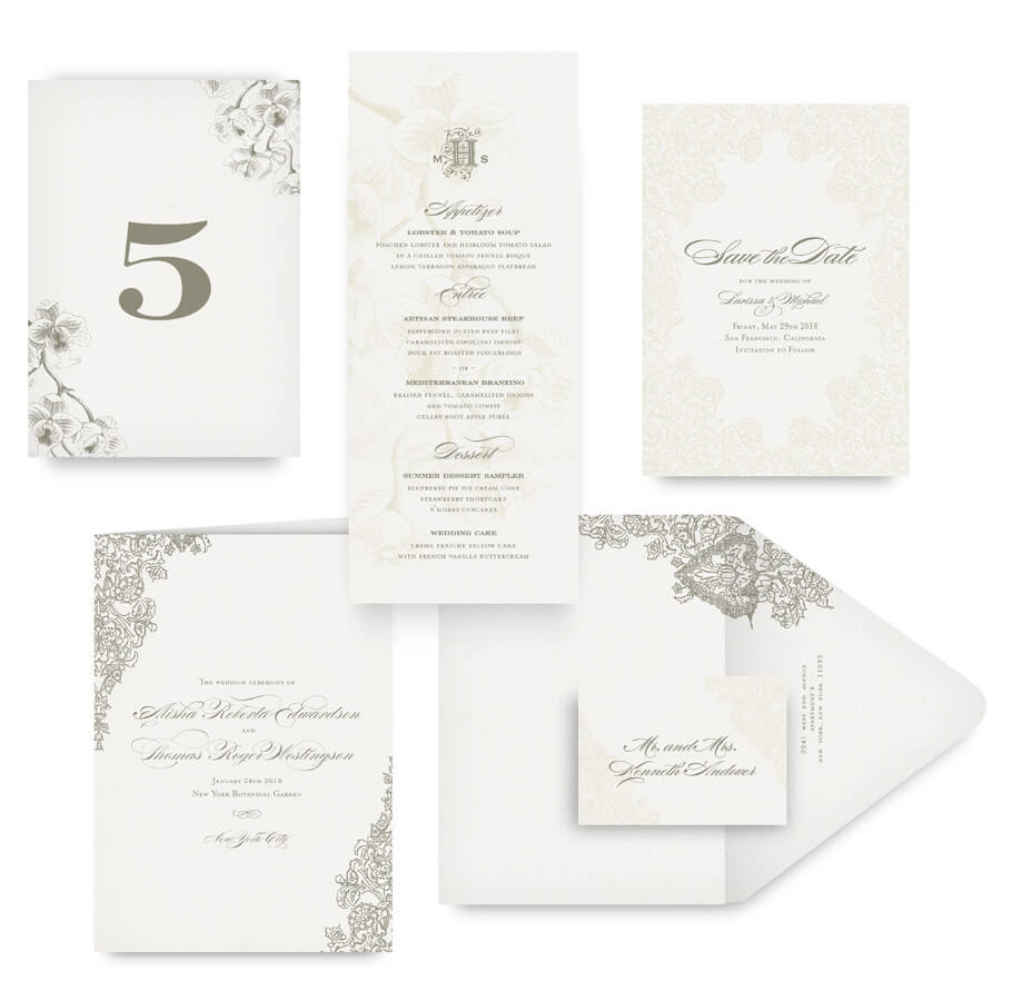 Romantic floral save the date, menu, program and wedding accessories