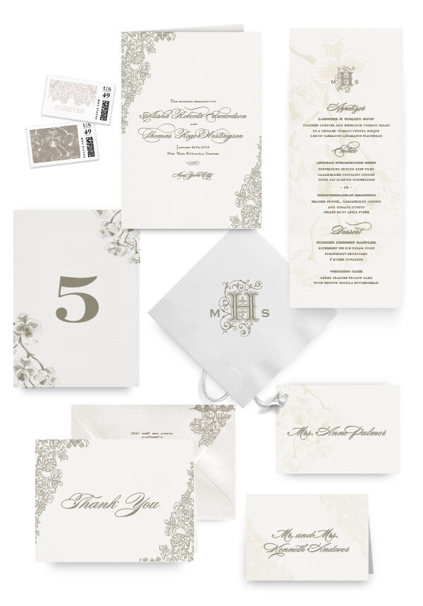 Romantic floral napkins, table cards, escort and place cards