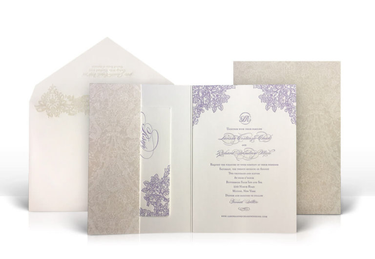 Purple and cream floral wedding invitation