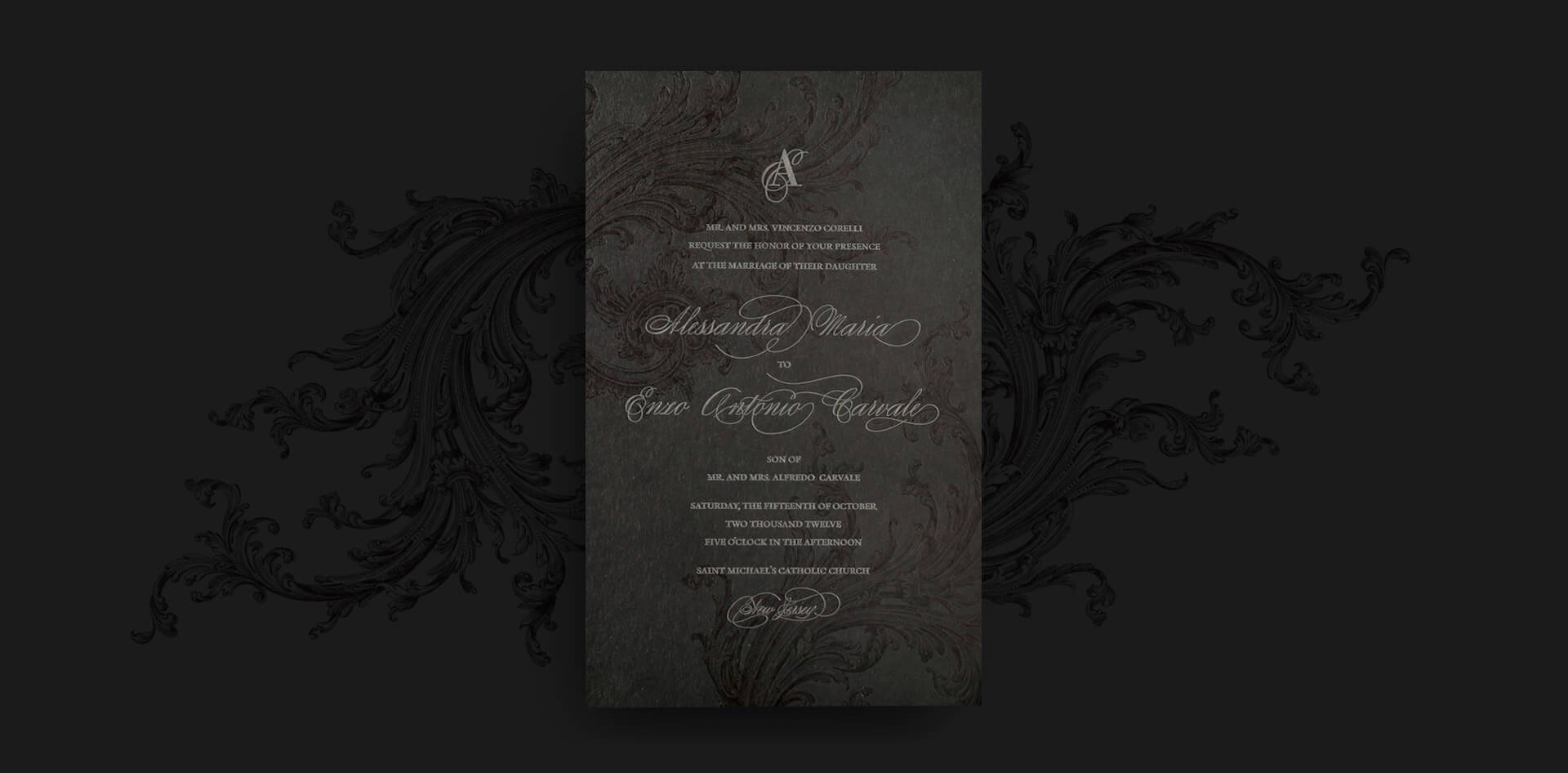 Black and silver moody invitation card