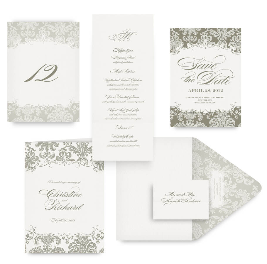 Classic damask save the date, menu, program and wedding accessories