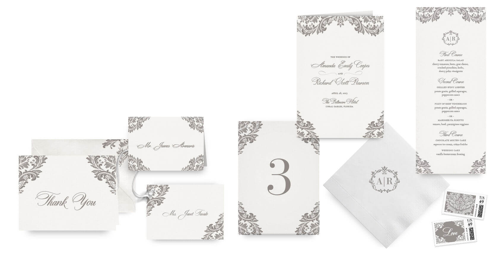 Classic ornate menus, programs and wedding accessories