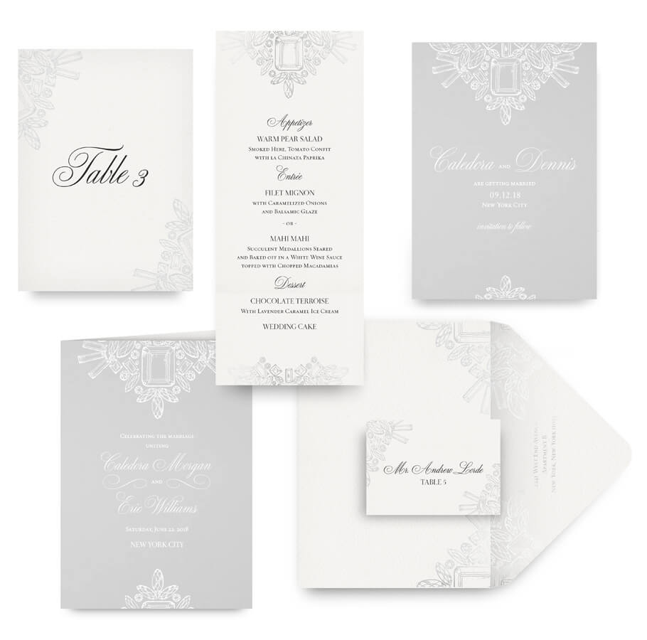 Diamond and crystal save the date, menu, program and wedding accessories