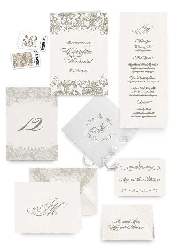 Damask gold napkins, table cards, escort and place cards