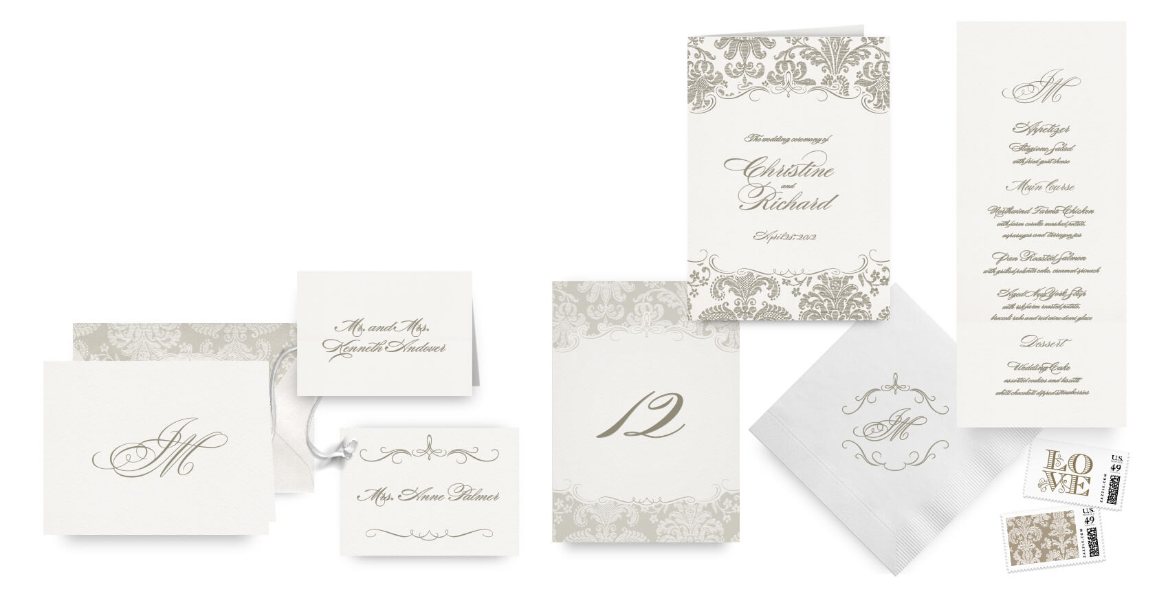 Ornate damask menus, programs and wedding accessoriesmask letterpress wedd