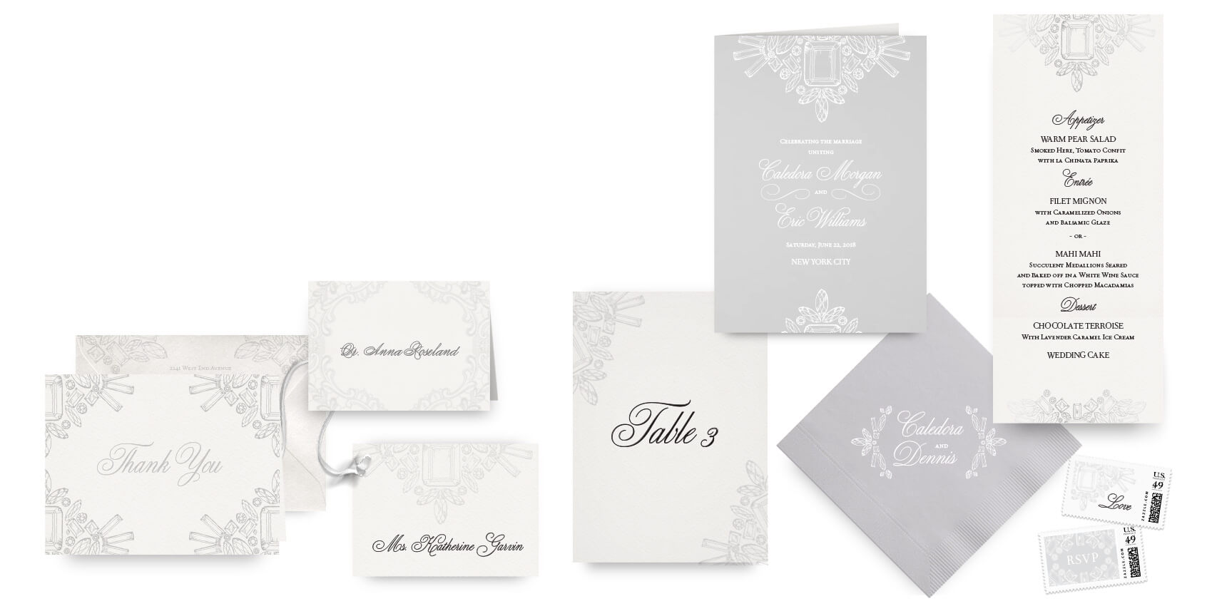 Diamond and crystal menus, programs and wedding accessories
