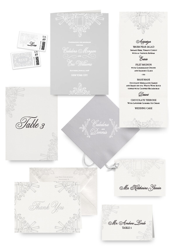 Diamond and crystal napkins, table cards, escort and place cards