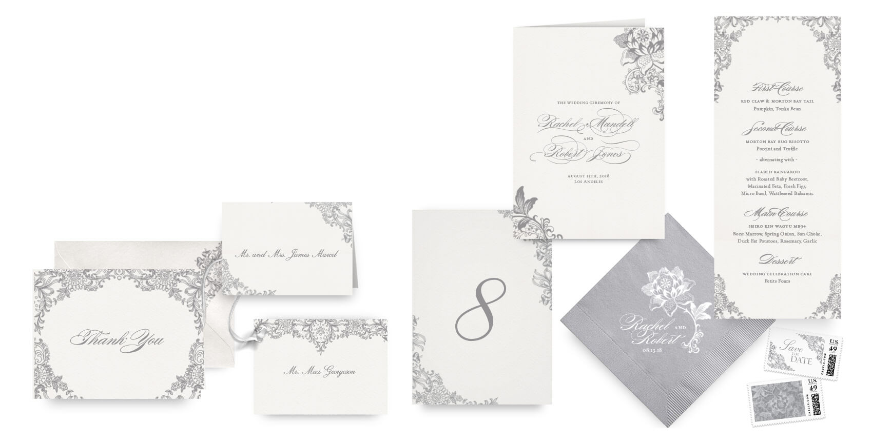 Grey lace menus, programs and wedding accessories