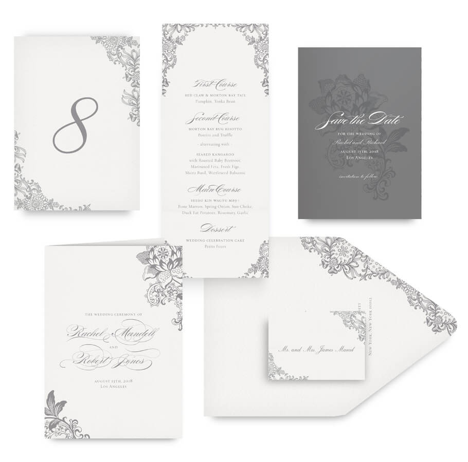 Grey lace save the date, menu, program and wedding accessories