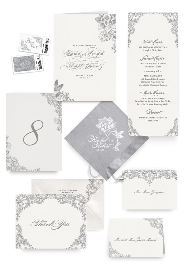 Grey lace napkins, table cards, escort and place cards