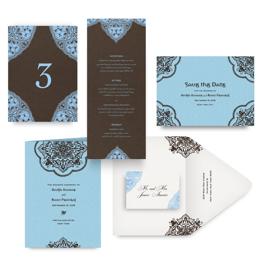 Indian wedding save the date, menu, program and accessories