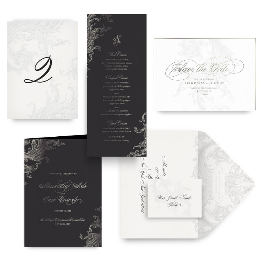 Moody ornate save the date, menu, program and wedding accessories