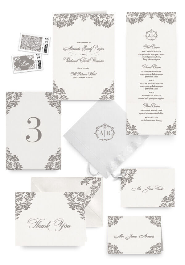 Ornate classic napkins, table cards, escort and place cards