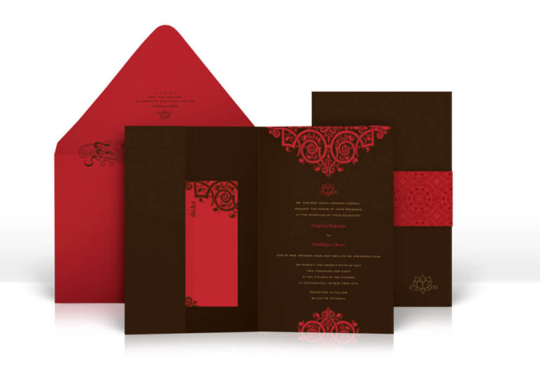 Red Indian wedding invitation with mehndi details