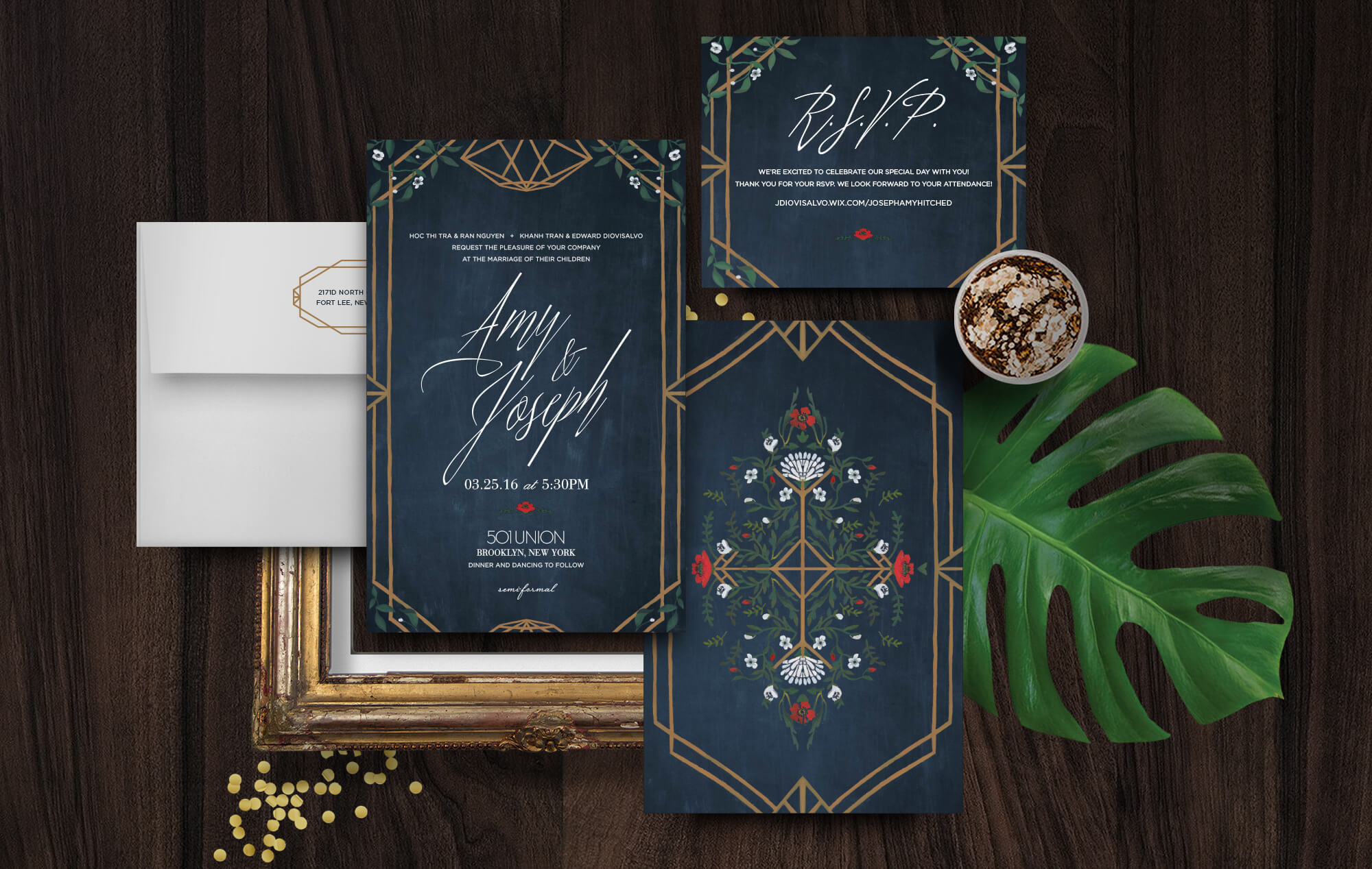 501 Union Brooklyn wedding invitation
