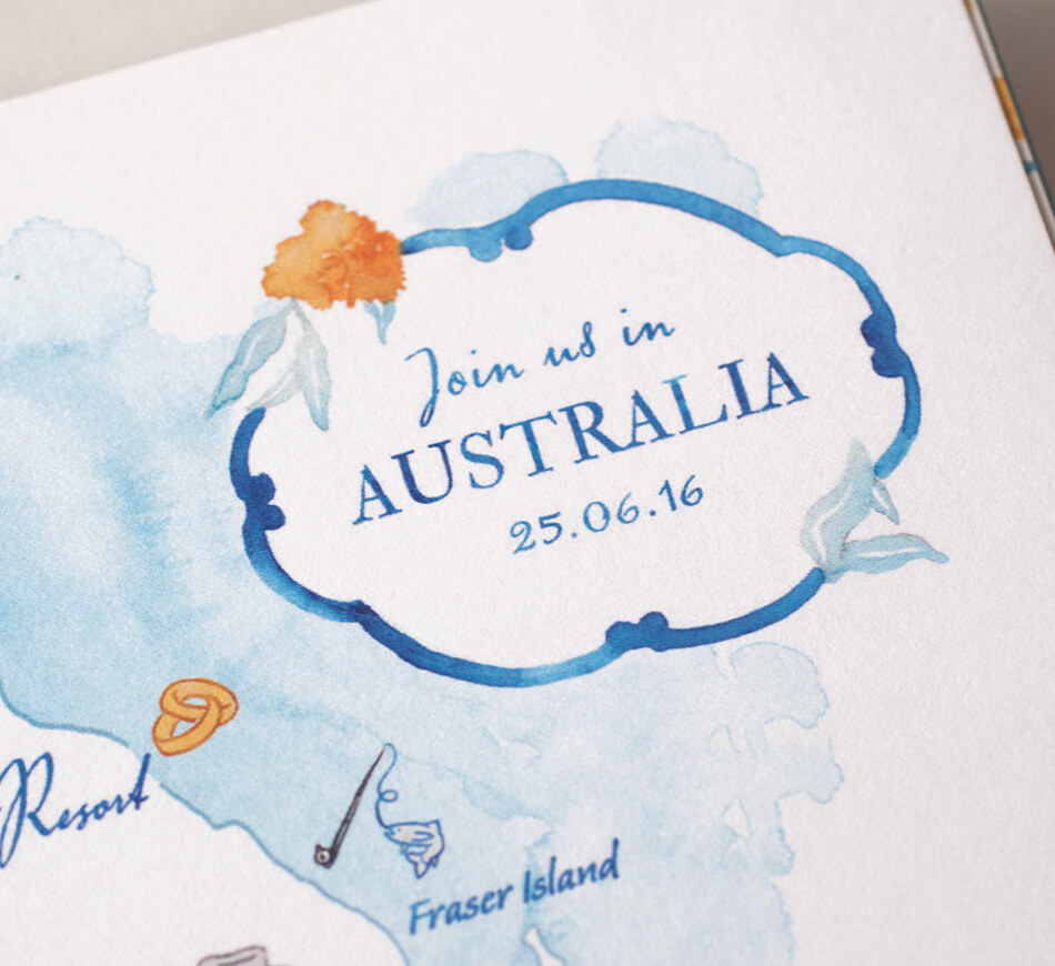 Australia watercolor map typography